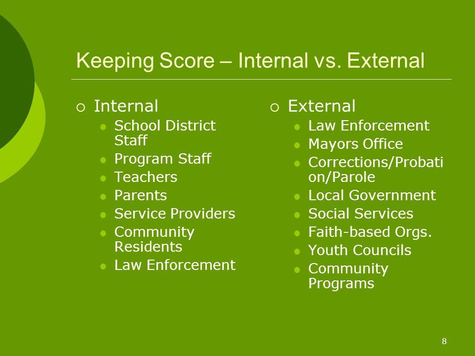 8 Keeping Score – Internal vs. External  Internal School District Staff Program Staff Teachers Parents Service Providers Community Residents Law Enfo