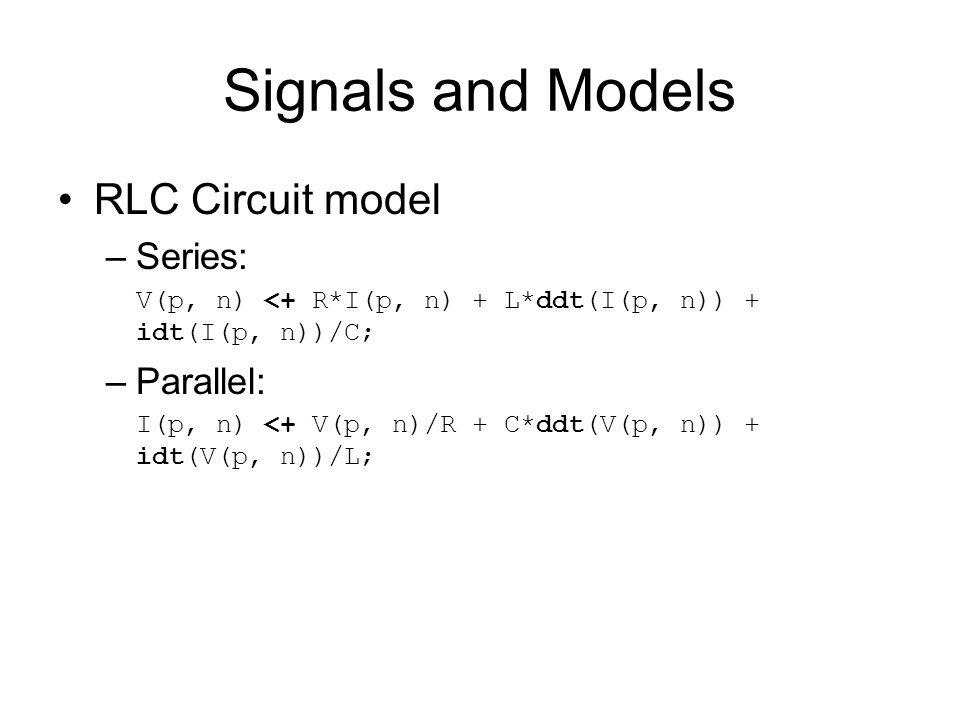 Signals and Models RLC Circuit model –Series: V(p, n) <+ R*I(p, n) + L*ddt(I(p, n)) + idt(I(p, n))/C; –Parallel: I(p, n) <+ V(p, n)/R + C*ddt(V(p, n))