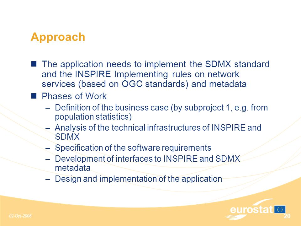 02-Oct-2008 20 Approach The application needs to implement the SDMX standard and the INSPIRE Implementing rules on network services (based on OGC standards) and metadata Phases of Work –Definition of the business case (by subproject 1, e.g.