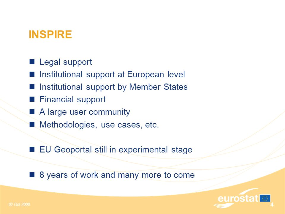 02-Oct-2008 4 Legal support Institutional support at European level Institutional support by Member States Financial support A large user community Methodologies, use cases, etc.
