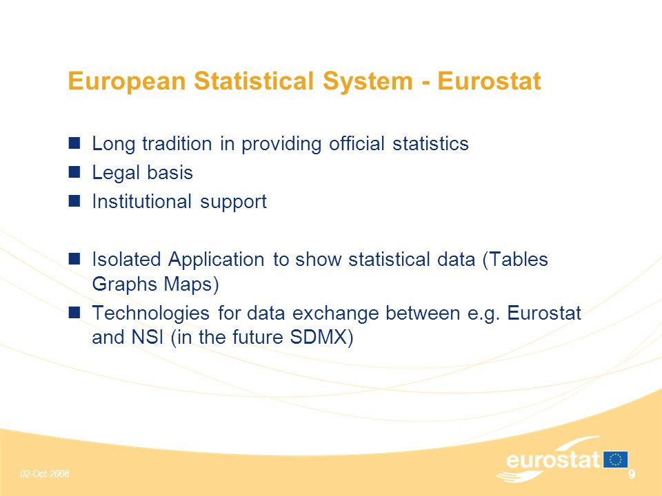 02-Oct-2008 9 European Statistical System - Eurostat Long tradition in providing official statistics Legal basis Institutional support Isolated Application to show statistical data (Tables Graphs Maps) Technologies for data exchange between e.g.
