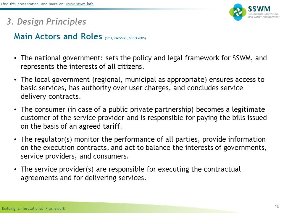 Building an Institutional Framework Find this presentation and more on: www.sswm.info.www.sswm.info 10 Main Actors and Roles (SCD, SWISS RE, SECO 2005