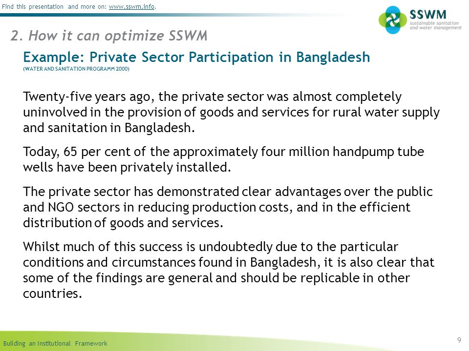 Building an Institutional Framework Find this presentation and more on: www.sswm.info.www.sswm.info 9 Example: Private Sector Participation in Banglad