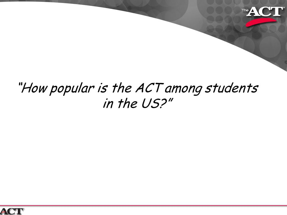 """How popular is the ACT among students in the US?"""