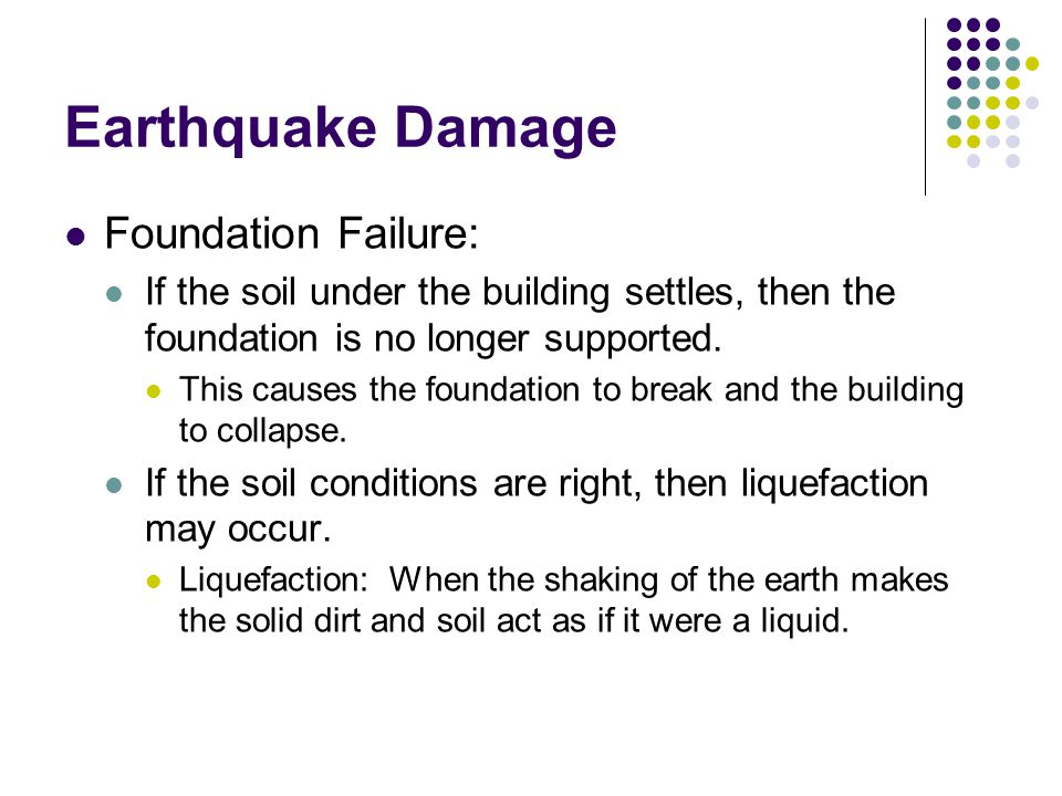 Earthquake Damage Foundation Failure: If the soil under the building settles, then the foundation is no longer supported.
