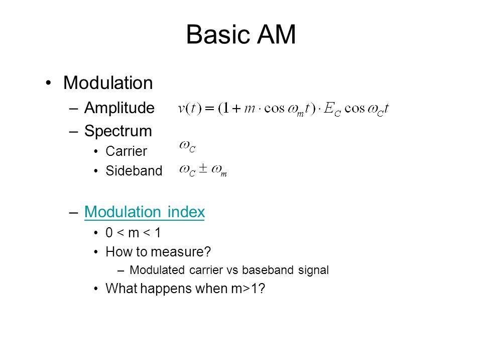 Basic AM Modulation –Amplitude –Spectrum Carrier Sideband –Modulation indexModulation index 0 < m < 1 How to measure.