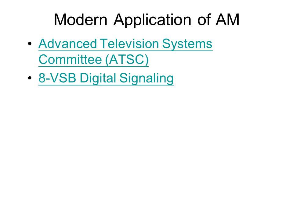 Modern Application of AM Advanced Television Systems Committee (ATSC)Advanced Television Systems Committee (ATSC) 8-VSB Digital Signaling
