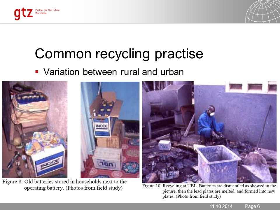 11.10.2014 Seite 6 Page 611.10.2014 Common recycling practise  Variation between rural and urban