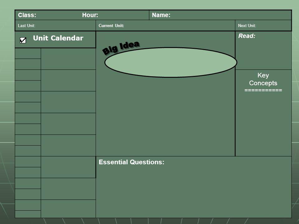 Class: Hour:Name: Last Unit:Current Unit:Next Unit: Read: Key Concepts =========== Essential Questions: Unit Calendar