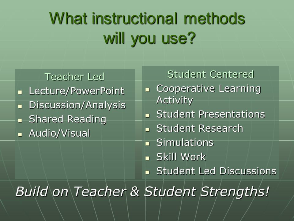 What instructional methods will you use.