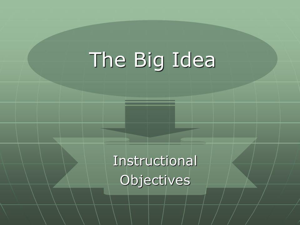 The Big Idea InstructionalObjectives