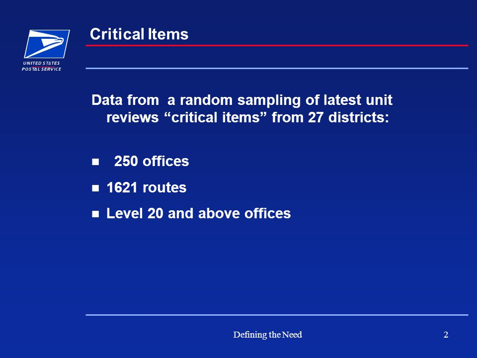 Defining the Need2 Critical Items Data from a random sampling of latest unit reviews critical items from 27 districts: 250 offices 1621 routes Level 20 and above offices