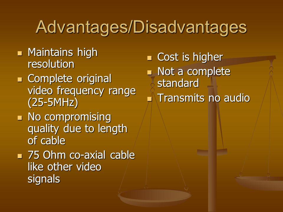 Advantages/Disadvantages Maintains high resolution Maintains high resolution Complete original video frequency range (25-5MHz) Complete original video