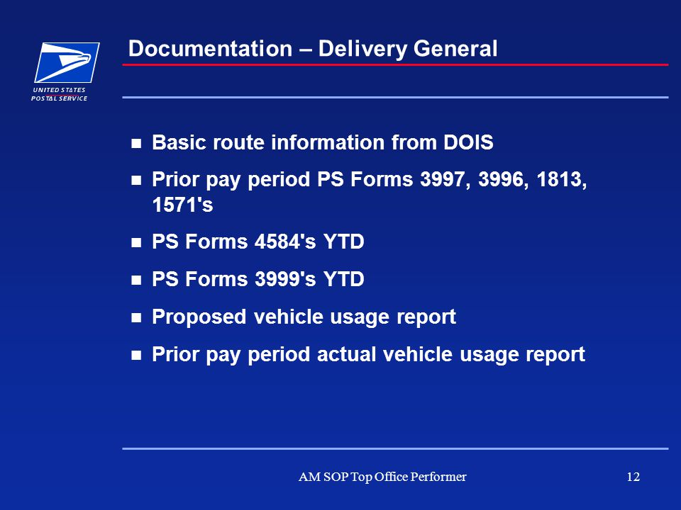 AM SOP Top Office Performer12 Documentation – Delivery General Basic route information from DOIS Prior pay period PS Forms 3997, 3996, 1813, 1571's PS