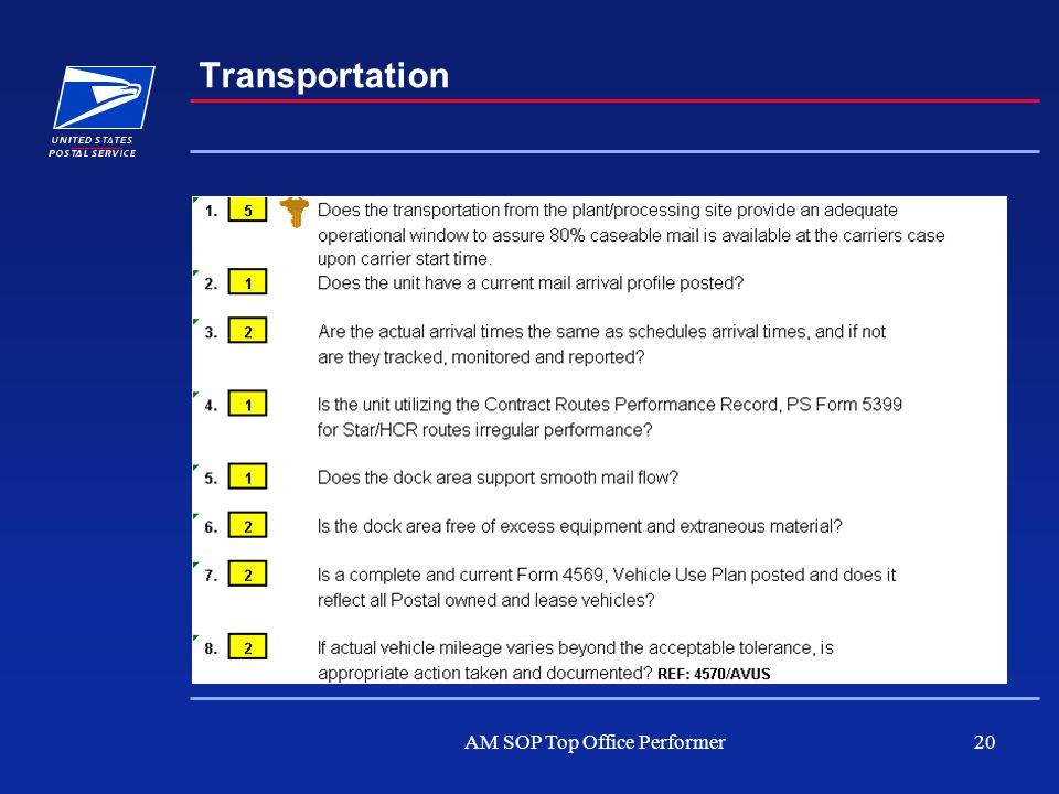 AM SOP Top Office Performer20 Transportation