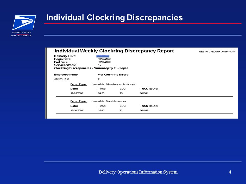 Delivery Operations Information System4 Individual Clockring Discrepancies