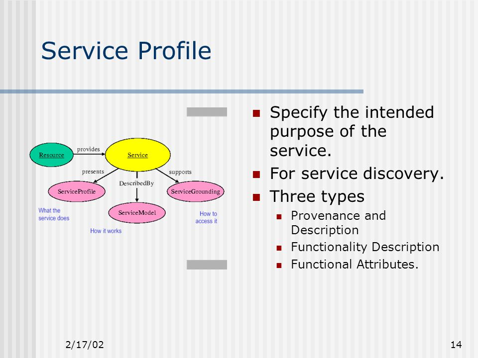 2/17/0214 Service Profile Specify the intended purpose of the service.