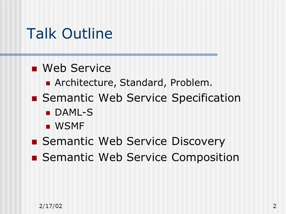 2/17/022 Talk Outline Web Service Architecture, Standard, Problem.