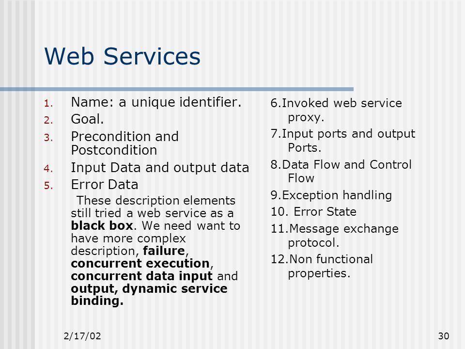 2/17/0230 Web Services 1. Name: a unique identifier.