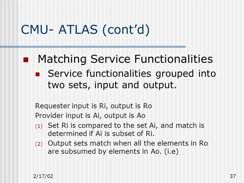 2/17/0237 CMU- ATLAS (cont'd) Matching Service Functionalities Service functionalities grouped into two sets, input and output.