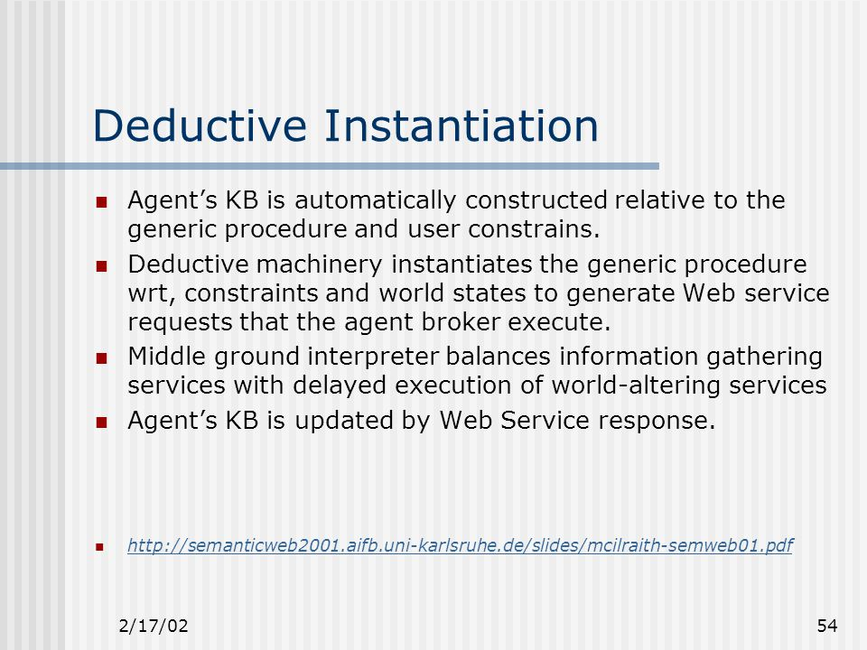 2/17/0254 Deductive Instantiation Agent's KB is automatically constructed relative to the generic procedure and user constrains.