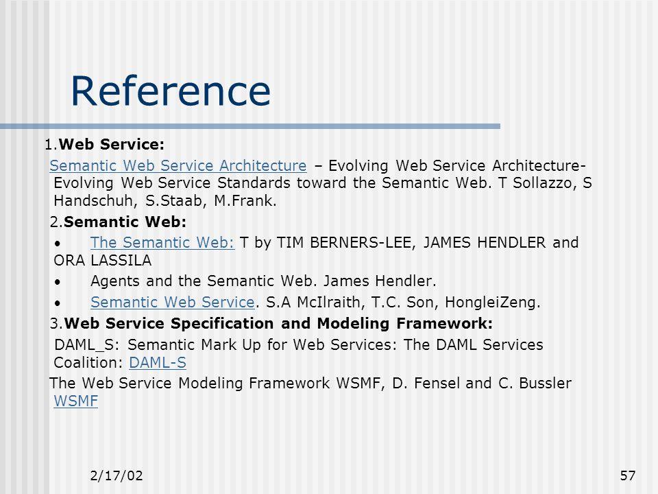 2/17/0257 Reference 1.Web Service: Semantic Web Service Architecture – Evolving Web Service Architecture- Evolving Web Service Standards toward the Semantic Web.