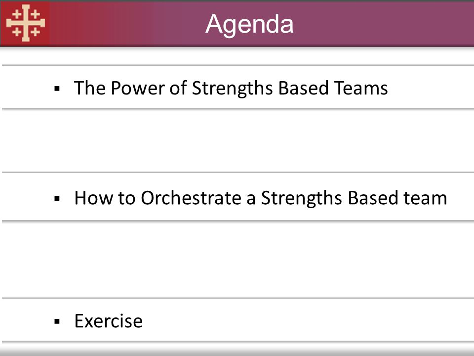 Agenda  The Power of Strengths Based Teams  How to Orchestrate a Strengths Based team  Exercise