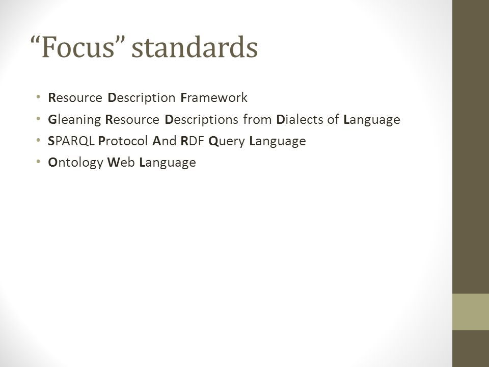 """Focus"" standards Resource Description Framework Gleaning Resource Descriptions from Dialects of Language SPARQL Protocol And RDF Query Language Ontol"