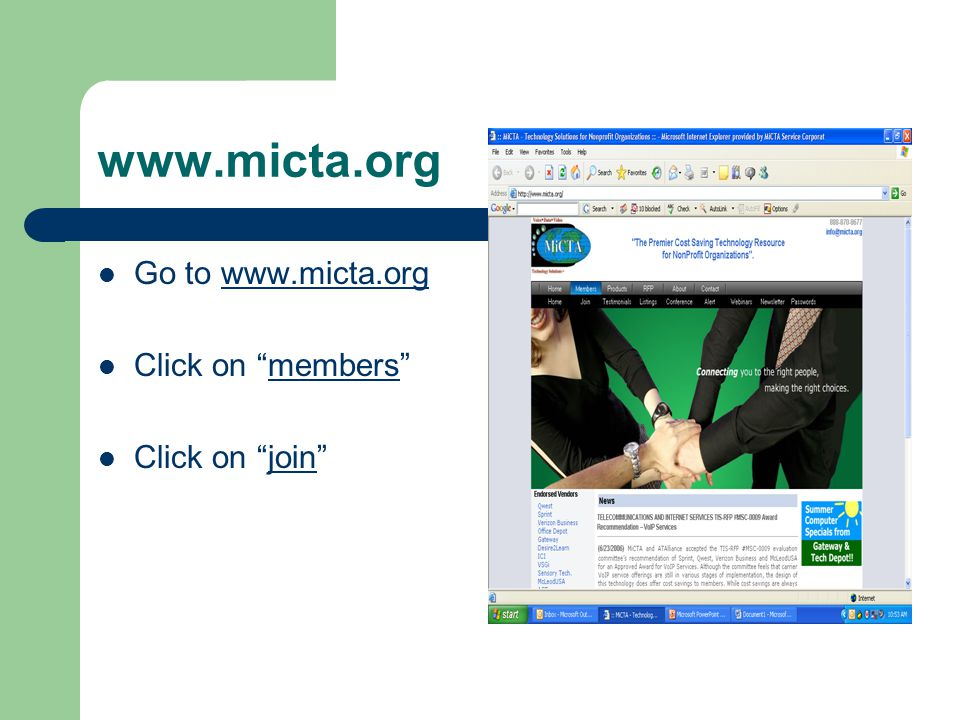 www.micta.org Go to www.micta.orgwww.micta.org Click on members Click on join