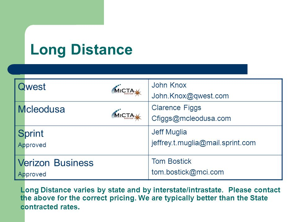 Long Distance Qwest John Knox John.Knox@qwest.com Mcleodusa Clarence Figgs Cfiggs@mcleodusa.com Sprint Approved Jeff Muglia jeffrey.t.muglia@mail.sprint.com Verizon Business Approved Tom Bostick tom.bostick@mci.com Long Distance varies by state and by interstate/intrastate.