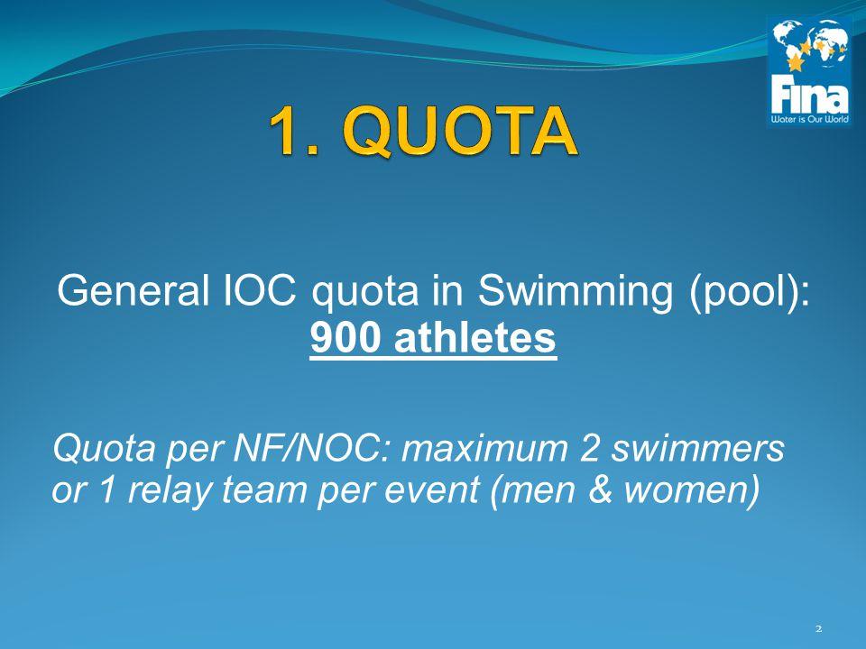 General IOC quota in Swimming (pool): 900 athletes Quota per NF/NOC: maximum 2 swimmers or 1 relay team per event (men & women) 2