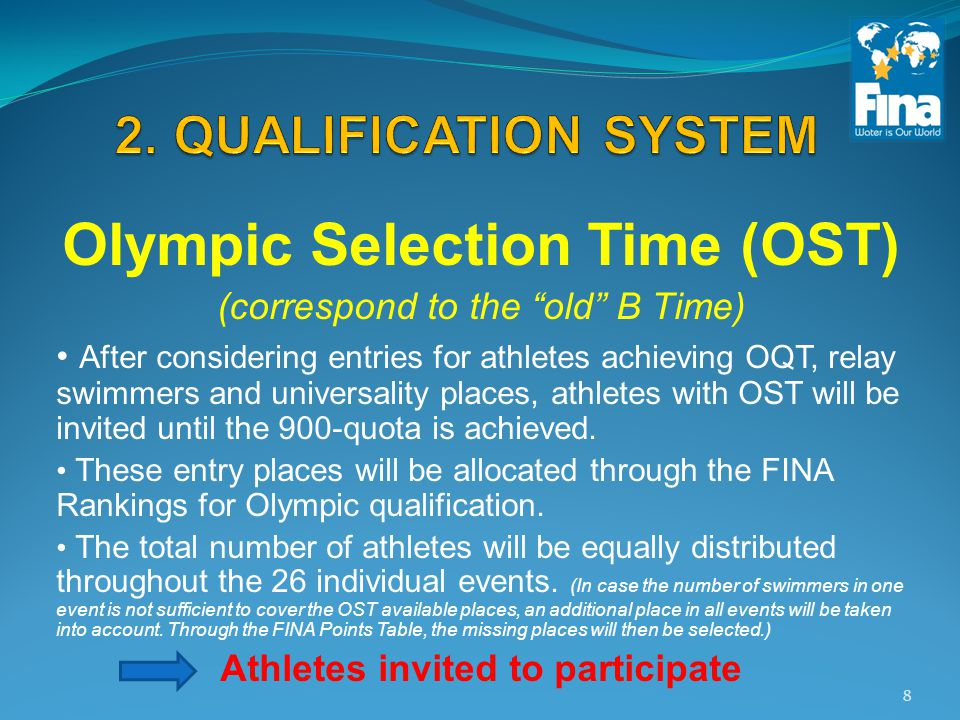 Olympic Selection Time (OST) (correspond to the old B Time) After considering entries for athletes achieving OQT, relay swimmers and universality places, athletes with OST will be invited until the 900-quota is achieved.