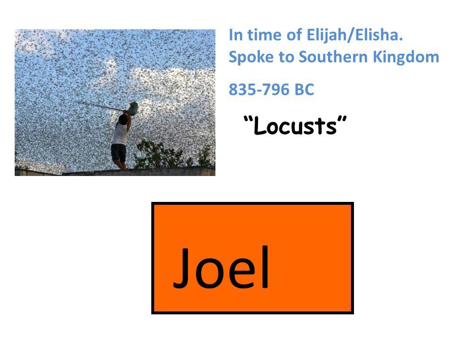 Joel Locusts In time of Elijah/Elisha. Spoke to Southern Kingdom 835-796 BC