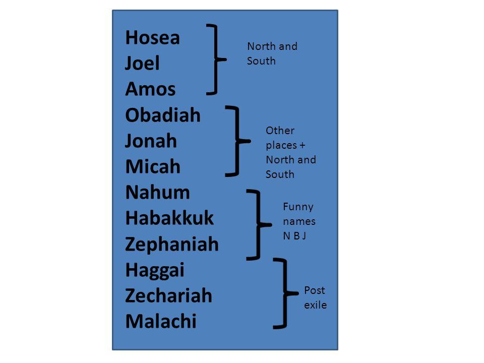 Hosea Joel Amos Obadiah Jonah Micah Nahum Habakkuk Zephaniah Haggai Zechariah Malachi North and South Other places + North and South Funny names N B J Post exile