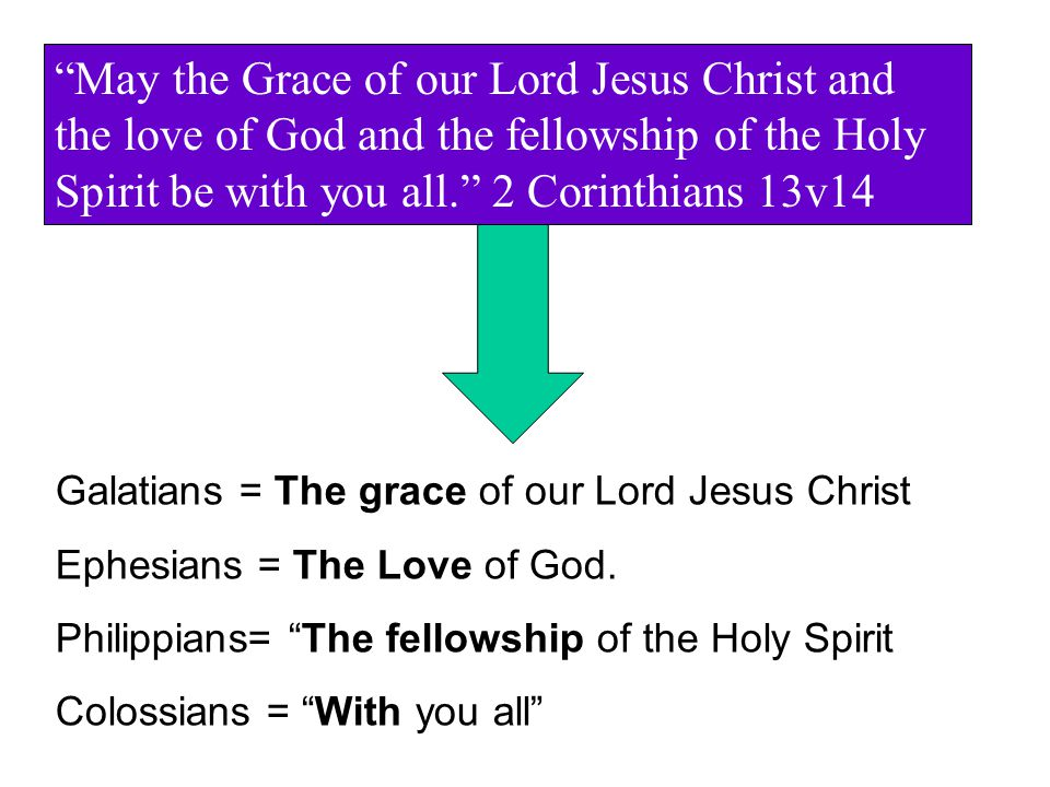 May the Grace of our Lord Jesus Christ and the love of God and the fellowship of the Holy Spirit be with you all. 2 Corinthians 13v14 Galatians = The grace of our Lord Jesus Christ Ephesians = The Love of God.