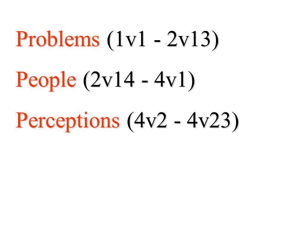 Problems (1v1 - 2v13) People (2v14 - 4v1) Perceptions (4v2 - 4v23)