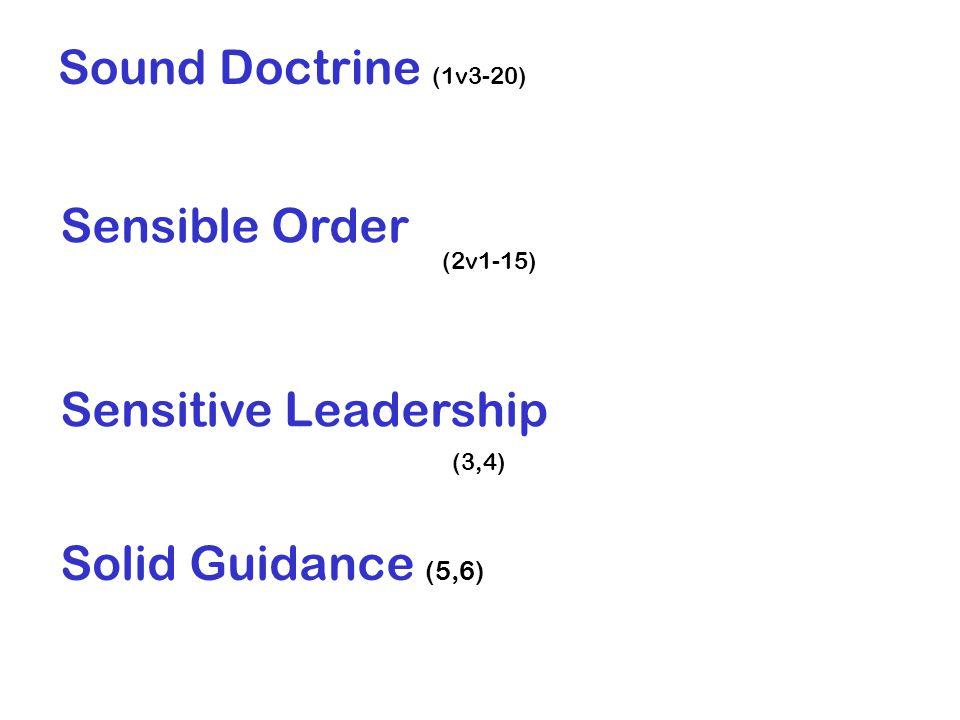 Sound Doctrine (1v3-20) Sensible Order (2v1-15) Sensitive Leadership (3,4) Solid Guidance (5,6)