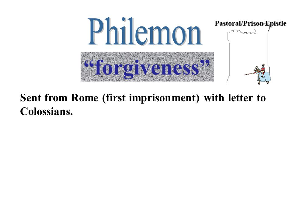 Pastoral/Prison Epistle forgiveness Sent from Rome (first imprisonment) with letter to Colossians.