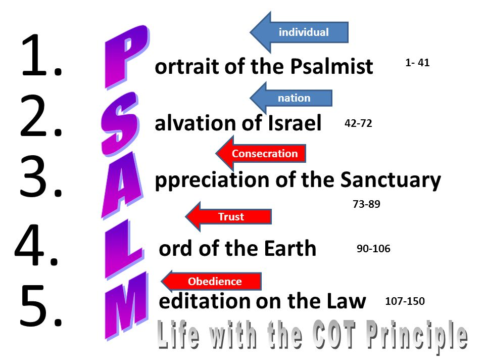 ortrait of the Psalmist alvation of Israel ppreciation of the Sanctuary ord of the Earth editation on the Law 1. 2. 3. 4. 5. 1- 41 42-72 73-89 90-106
