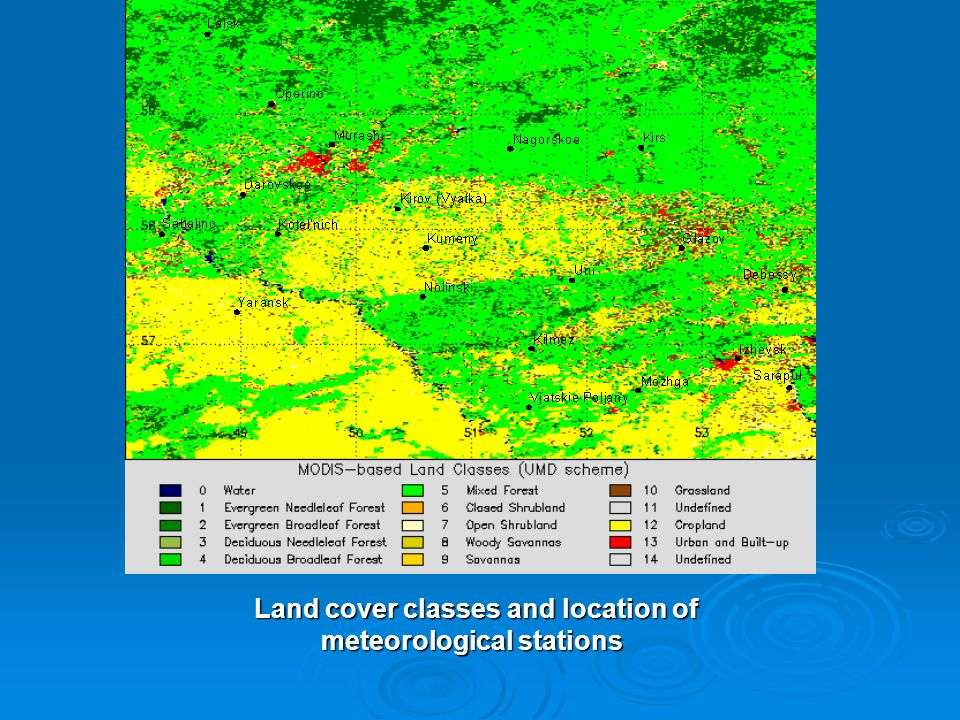 Land cover classes and location of meteorological stations