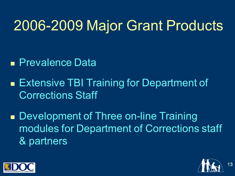 2006-2009 Major Grant Products Prevalence Data Extensive TBI Training for Department of Corrections Staff Development of Three on-line Training module