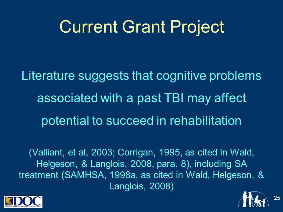 Current Grant Project Literature suggests that cognitive problems associated with a past TBI may affect potential to succeed in rehabilitation (Vallia