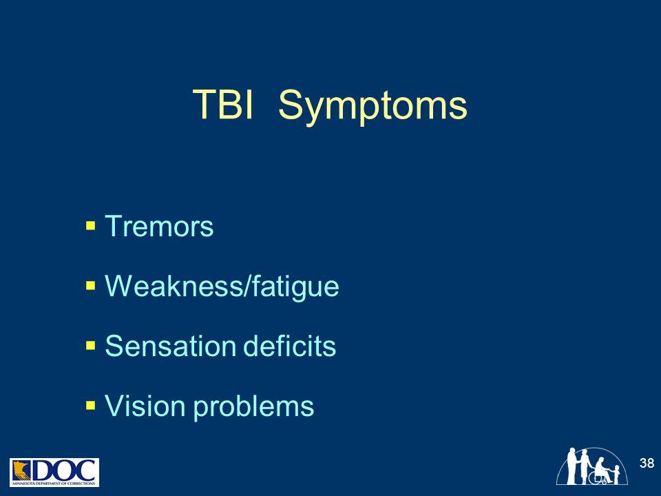 TBI Symptoms  Tremors  Weakness/fatigue  Sensation deficits  Vision problems 38