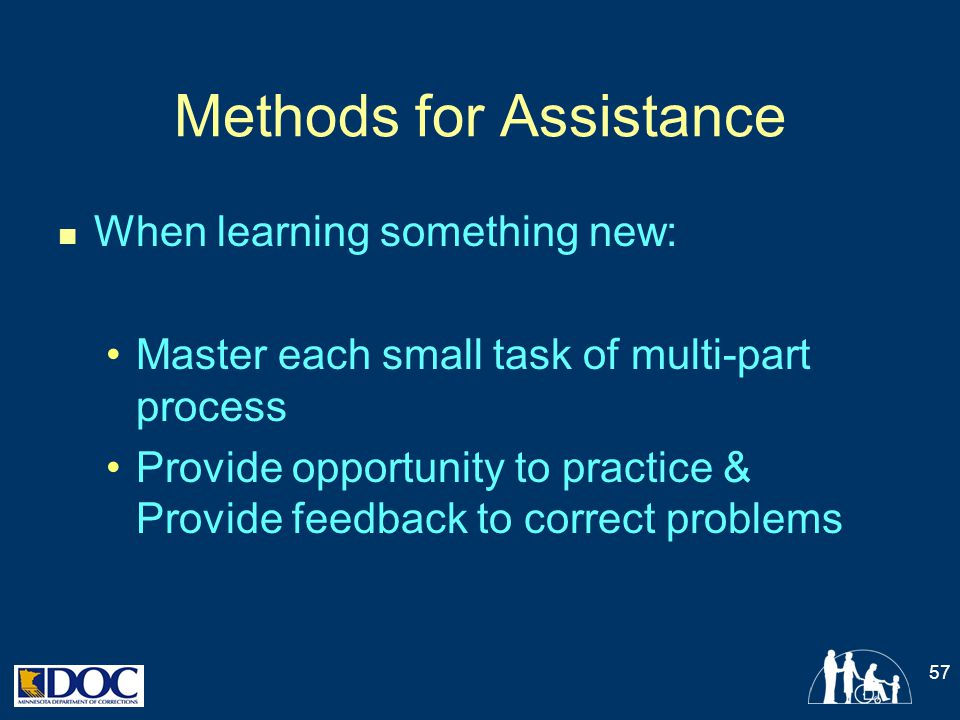 Methods for Assistance When learning something new: Master each small task of multi-part process Provide opportunity to practice & Provide feedback to