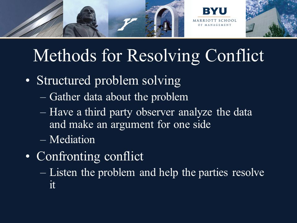 Methods for Resolving Conflict Structured problem solving –Gather data about the problem –Have a third party observer analyze the data and make an arg