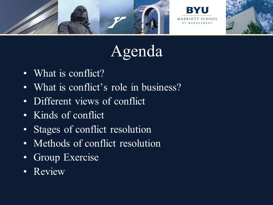 Agenda What is conflict? What is conflict's role in business? Different views of conflict Kinds of conflict Stages of conflict resolution Methods of c
