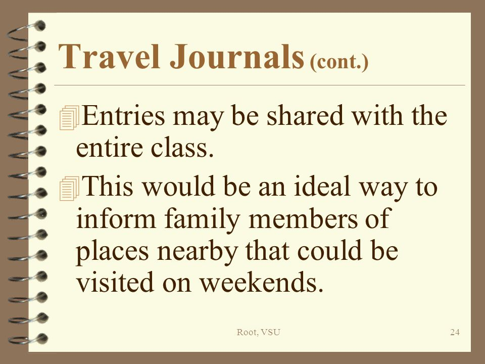 Root, VSU24 Travel Journals (cont.) 4 Entries may be shared with the entire class.