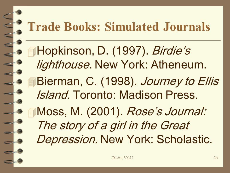 Root, VSU29 Trade Books: Simulated Journals 4 Hopkinson, D.