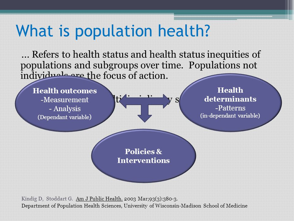 What is population health?... Refers to health status and health status inequities of populations and subgroups over time. Populations not individuals
