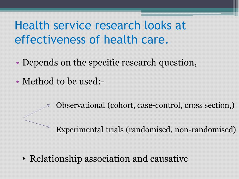 Health service research looks at effectiveness of health care.